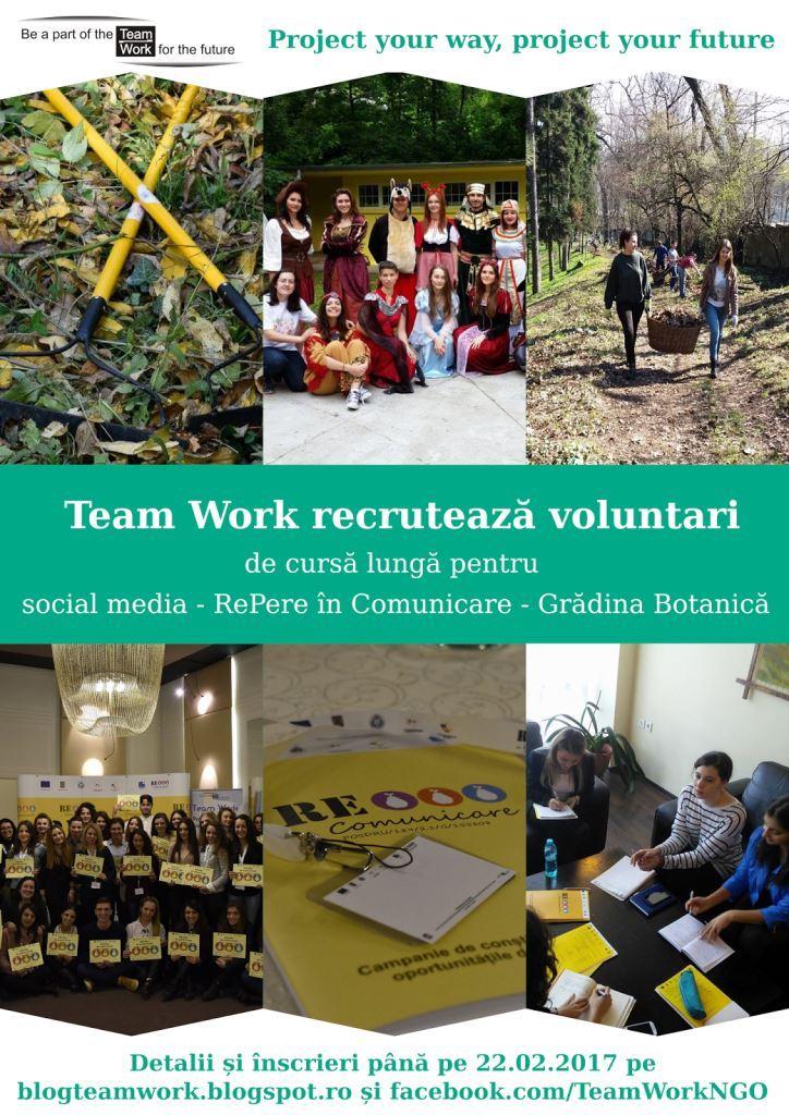 Team Work recrutează voluntari pentru proiecte și comunicare